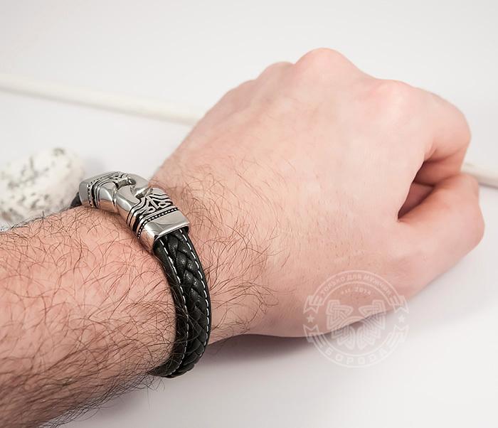 BM411 Красивый мужской браслет из кожи и стали (20 см) фото 07