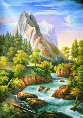 Алмазная Мозаика + Багет 40x50 Речка на фоне гор