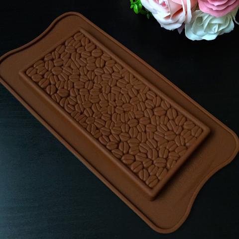 Силиконовая форма Плитка Шоколада ЗЕРНА КОФЕ 160х80мм.