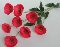 Мак искусственный, 8 цветков, 90 см.