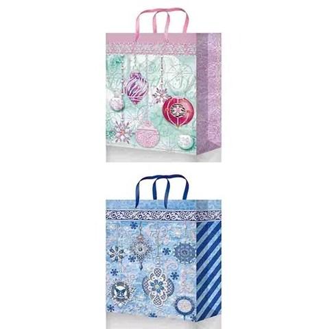 Новогодние подарочные пакеты 32х45х10 из ламинированной бумаги Premium  (XL27153  Микс НГ)