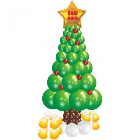 Новогодняя елочка из шаров, зеленая, с подарками и звездой с индивидуальной надписью или логотипом.