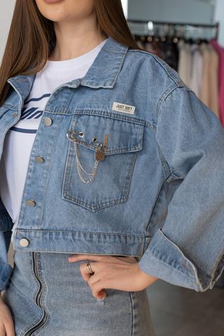 Джинсовая куртка с длинным рукавом магазин