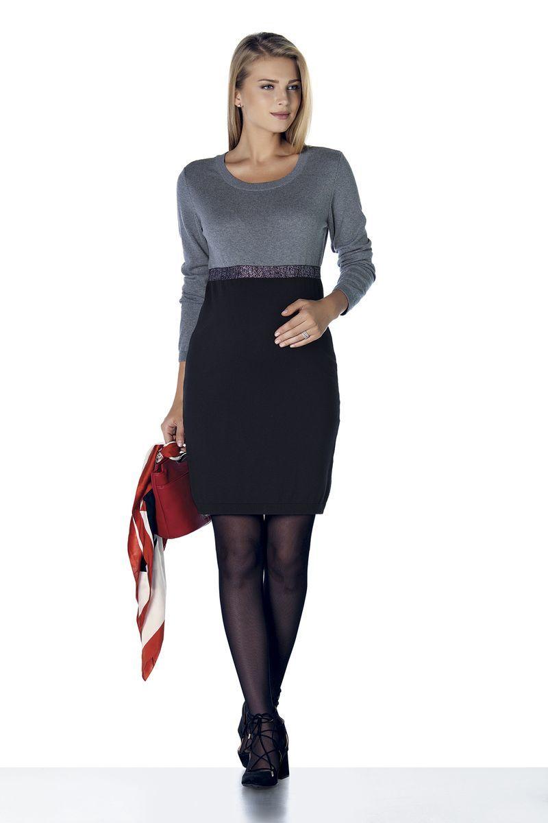Платье для беременных 08121 черный/серый