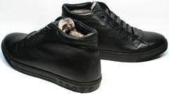 Кеды ботинки из натуральной кожи мужские зимние Ridge 6051 X-16Black