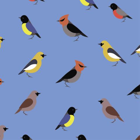 Милая ткань с птичками