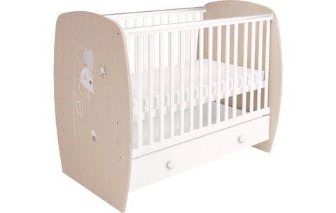 Кровать детская Polini kids French 710, Amis, с ящиком, белый-дуб пастельный