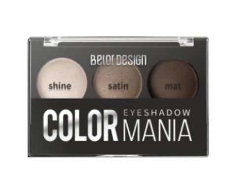 BelorDesign Тени для век COLOR MANIA 3-х цветные тон 034 кремовый серый