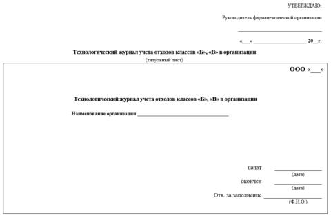 Технологический журнал учета отходов классов Б и В в организации