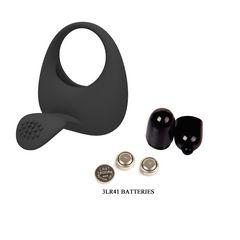 Чёрное эрекционное кольцо с вибрацией и клиторальным язычком -
