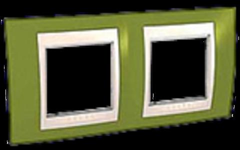 Рамка на 2 поста. Цвет Фисташковый/Бежевый. Schneider electric Unica Хамелеон. MGU6.004.566