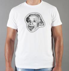 Футболка с принтом Альберт Эйнштейн (Albert Einstein) белая 007