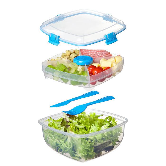 """Контейнер для салата с разделителями и приборами Sistema """"TO GO"""" 1,63 л, цвет Голубой"""