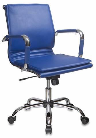 Кресло руководителя Бюрократ CH-993-Low синий искусственная кожа низк.спин. крестовина металл хром