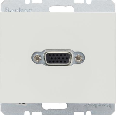 Розетка VGA (подключение к собранному кабелю). Цвет Полярная белизна. Berker (Беркер). K.1. 3315407009. Цвет Полярная белизна. Berker (Беркер). K.1. 3315407009