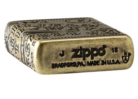 Зажигалка Zippo Armor с покрытием Antique Brass, латунь/сталь, медная, матовая, 36x12x56 мм123
