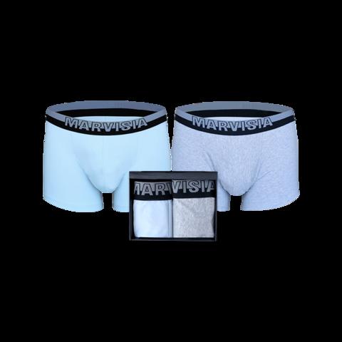 Мужские трусы-боксеры Паркур MARVISIA 2 шт размер L (голубой, серый меланж)