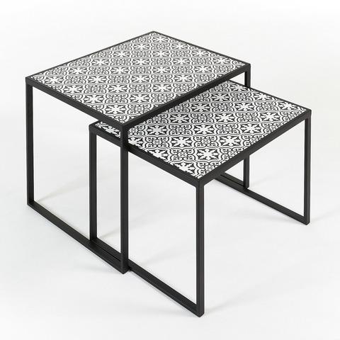 Комплект из 2 столов Tropica металлический черный