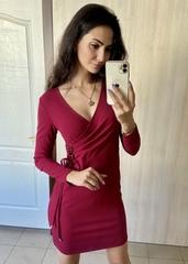 Івона. Елегантне плаття з запахом. Бордо