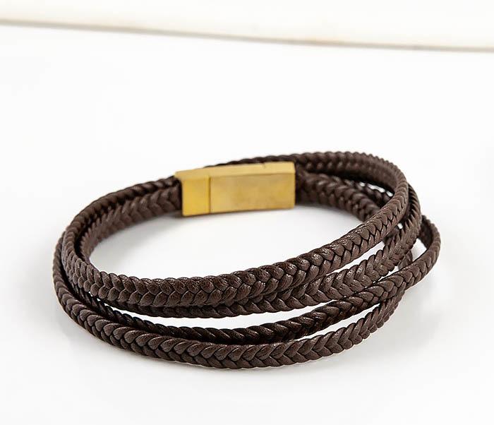 BM561-2 Мужской браслет из плетеного шнура коричневого цвета фото 04