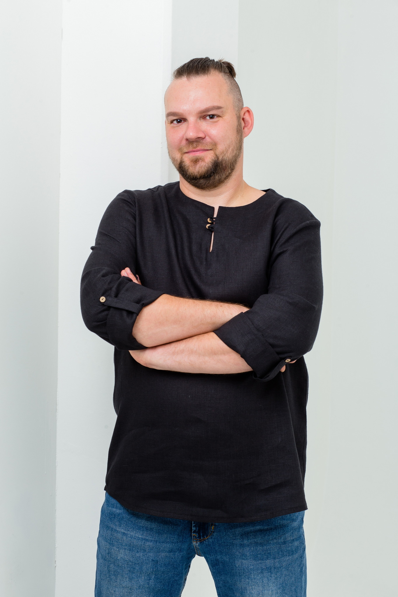Льняная рубашка с длинным рукавом Черноморская