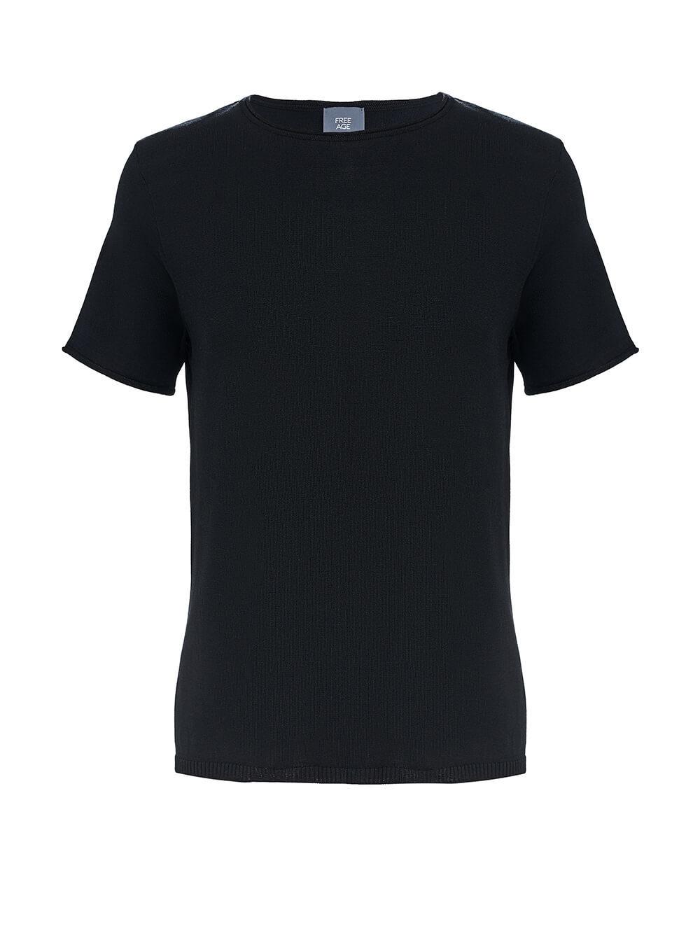 Женский шелковый джемпер черного цвета с укороченным рукавом - фото 1