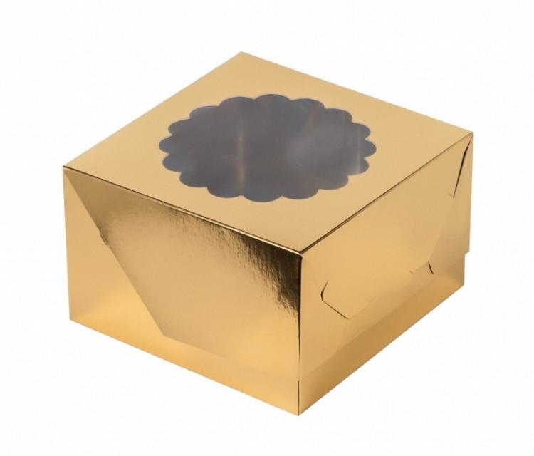 Коробка на 4 капкейка (золото)