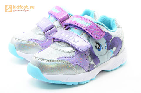 Светящиеся кроссовки для девочек Пони (My Little Pony) на липучках, цвет серебряный, мигает картинка сбоку. Изображение 6 из 15.