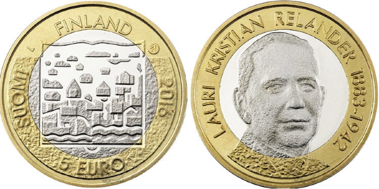 5 евро 2016 Финляндия - Лаури Кристиан Реландер (второй президент)
