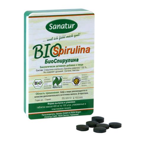 САНАТУР БиоСпирулина, 100 таблеток по 400 мг в пластиковом пенале