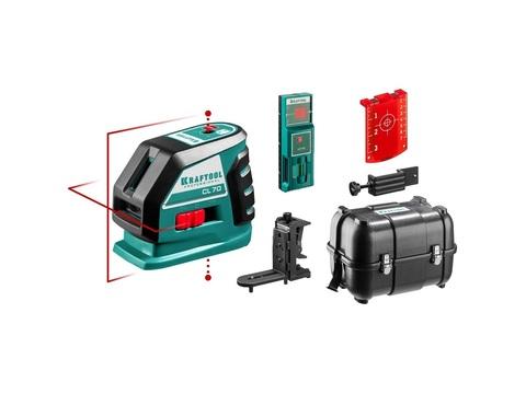 KRAFTOOL CL-70 #4  нивелир лазерный , 20м/70м, IP54, точн. +/-0,2 мм/м, детектор, питание 4хАА, в кейсе