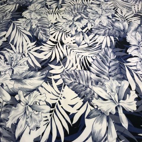 Ткань вискоза с синими цветами 3134