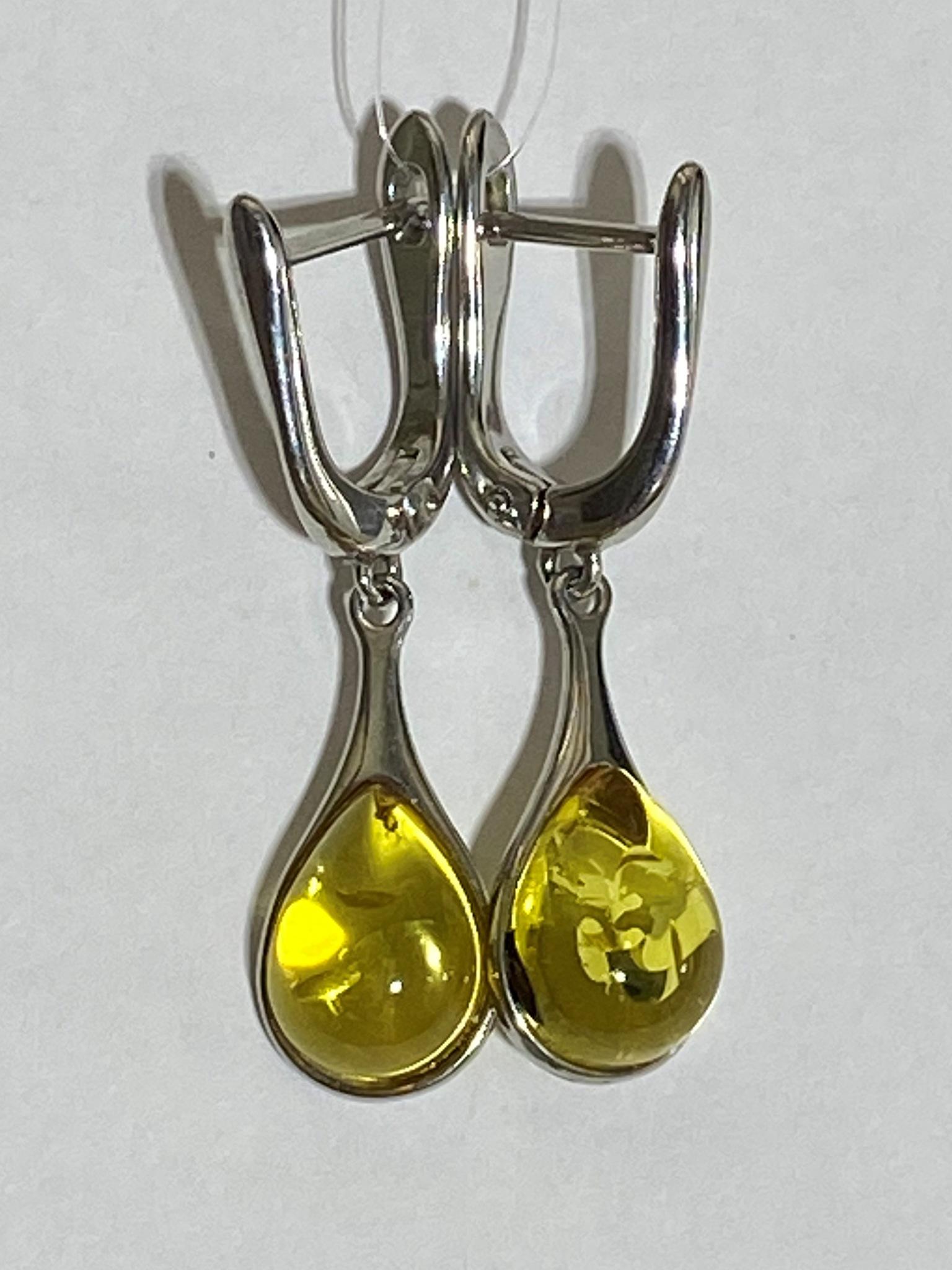Янтарь 0041 (серьги из серебра)