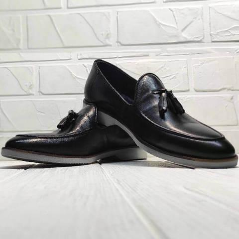 Черные туфли лоферы мужские Luciano Bellini 91178-E-212 Black.