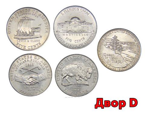 """Набор монет по 5 центов. """"Освоение запада"""" (двор D)"""