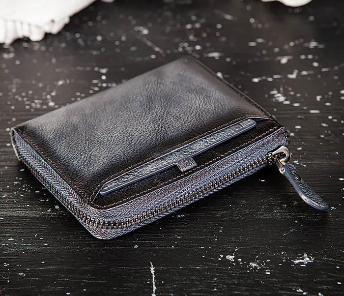 WL331-3 Мужской кошелек из кожи со вкладышем и монетницей фото 03