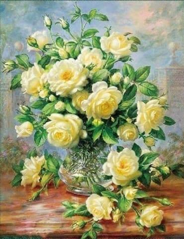 Алмазная Мозаика 40x50 Розы в хрустальной вазе (арт. HWA2878 )