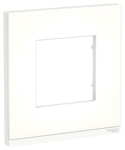 Рамка на 1 пост, вертикальная. Цвет Матовое стекло/белый. Schneider Electric Unica Pure. NU600289