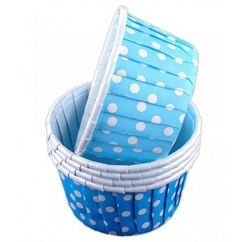 Капсулы для капкейков усиленные, голубые в горох,20шт,50*30мм