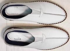 Белые слипоны туфли мужские натуральная кожа business casual стиль летние Luciano Bellini 91724-S-304 All White.