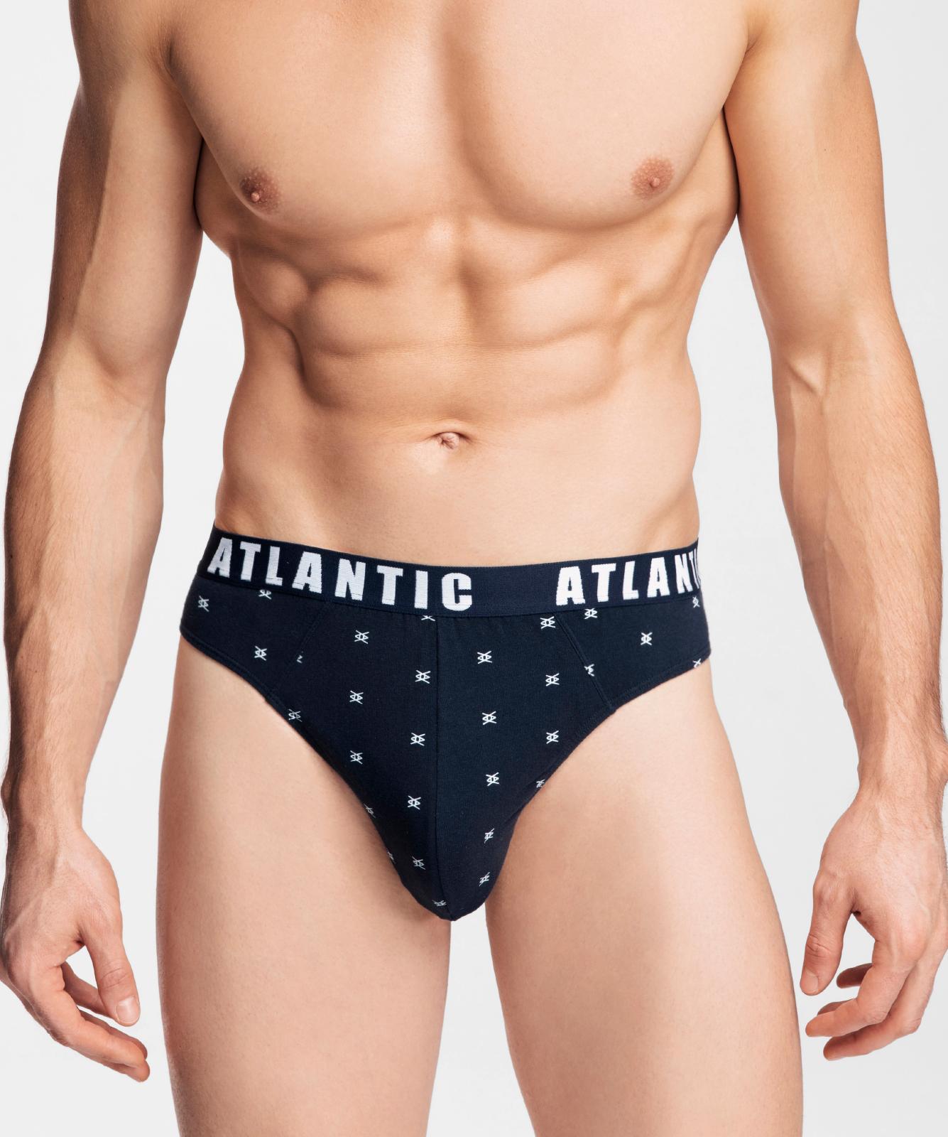 Мужские трусы слипы спорт Atlantic, набор 3 шт., хлопок, темно-синие + синие + голубые, 3MP-090