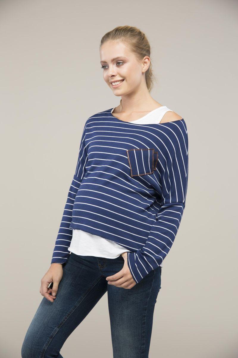 Джемпер для беременных 09098 синяя полоска