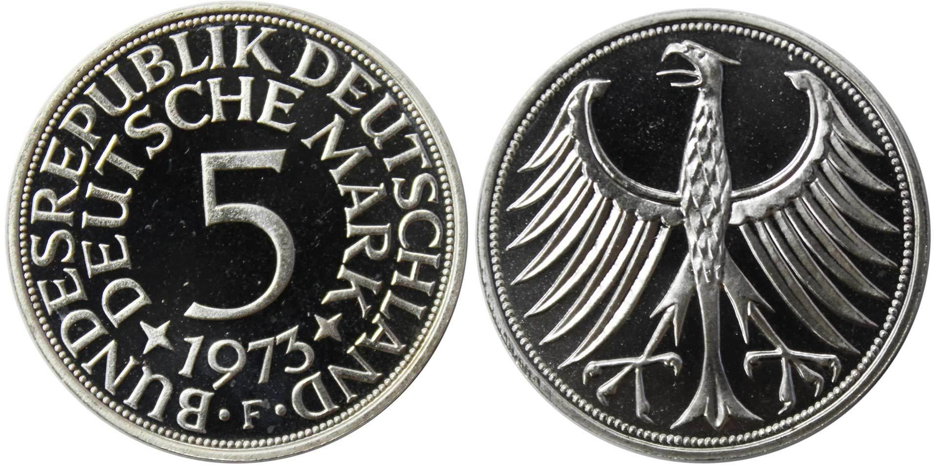 5 марок. Германия. (F). Серебро. 1973 год. PROOF