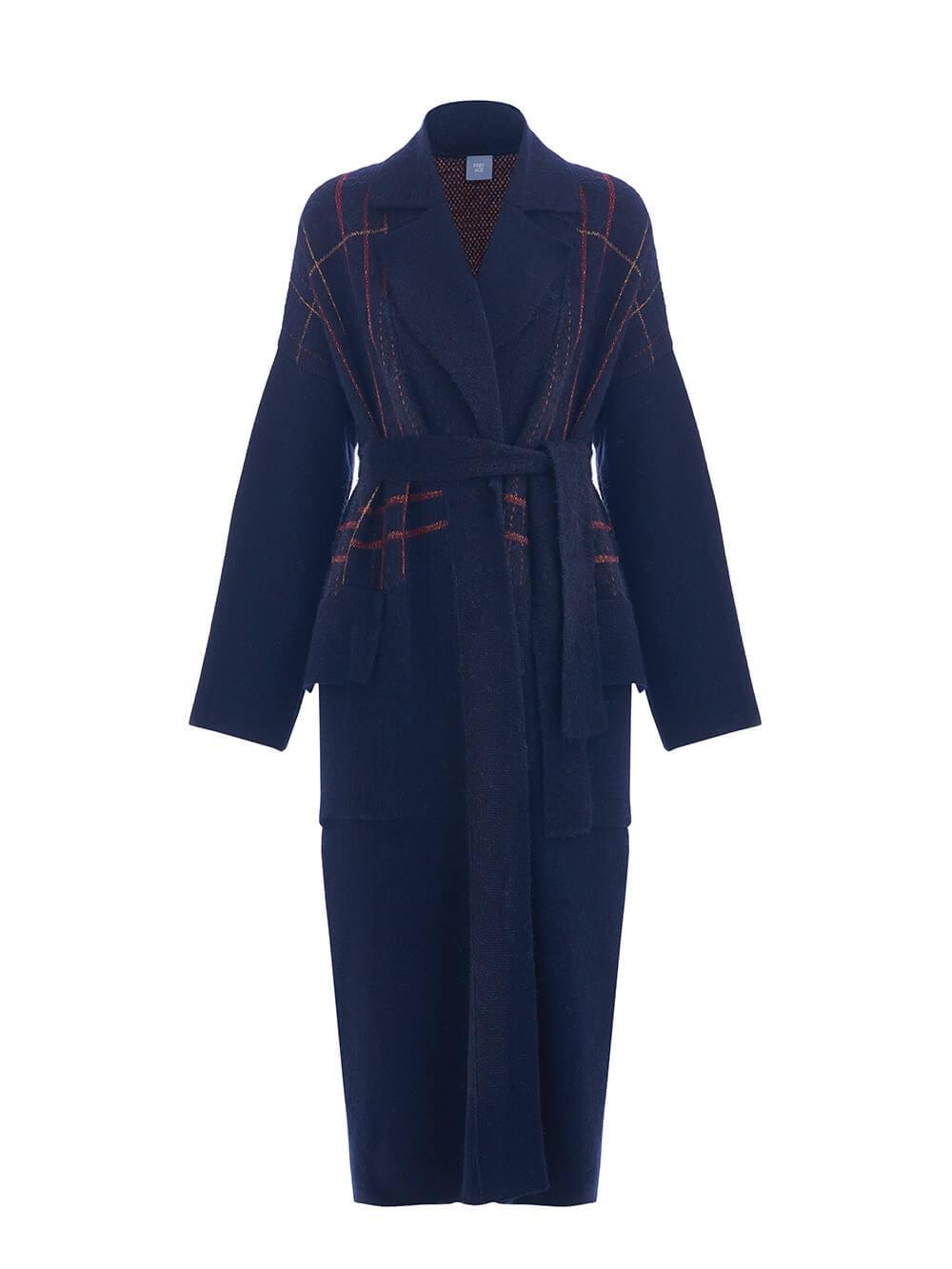 Женский кардиган темно-синего цвета из шерсти и кашемира - фото 1