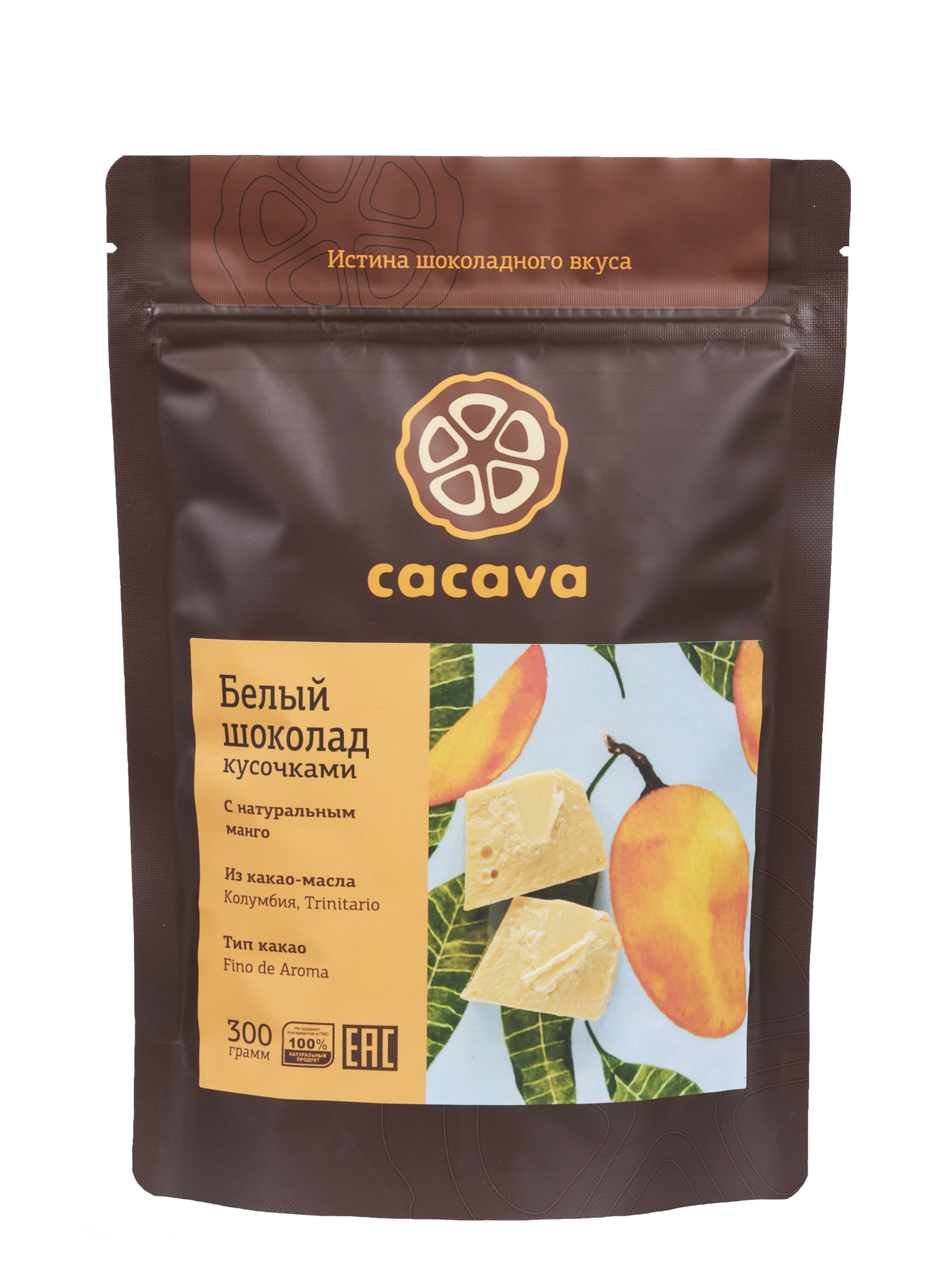 Белый шоколад с манго, упаковка 300 грамм
