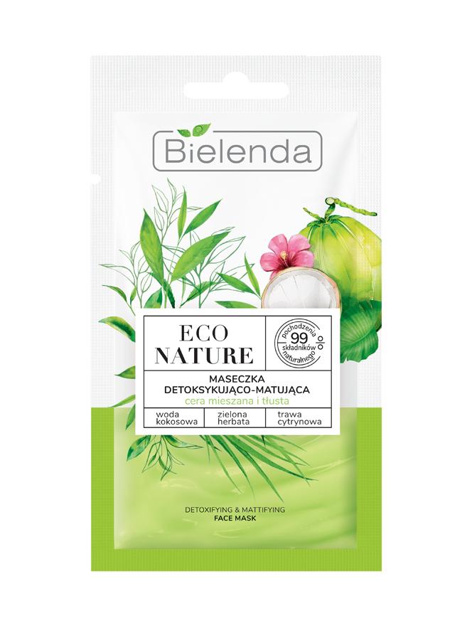 ECO NATURE Кокосовая вода+Зеленый чай+Лемонграсс Маска для лица матирующая 8мл