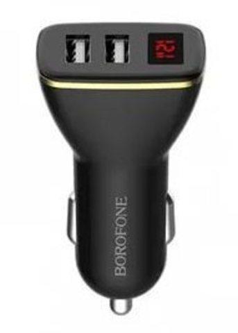 Автомобильное З/У Borofone BZ11 2USB 2.1A дисплей белый (1/42/168)
