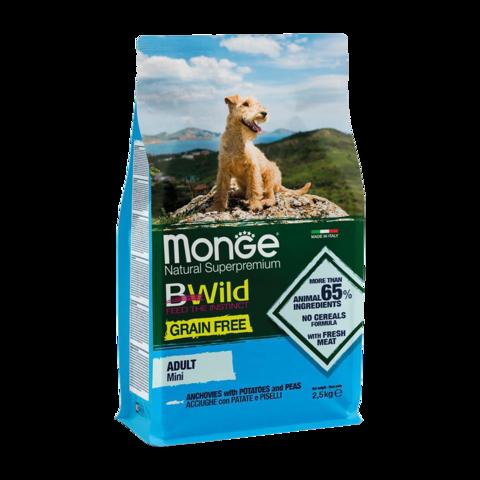 Monge Dog BWild Grain Free Mini Сухой корм для взрослых собак мелких пород из анчоуса с картофелем, беззерновой
