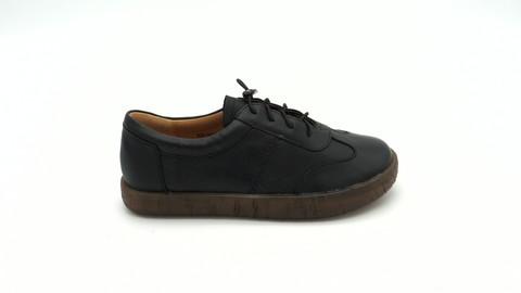 Черные кожаные полуботинки на подошве из натурального каучука
