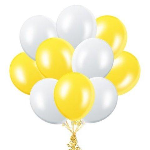 Воздушные шары с гелием Бело-желтые